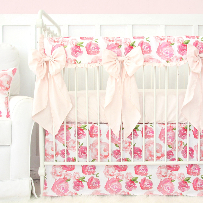 Harlow's Light Pink Floral Ruffle Designer Baby Bedding