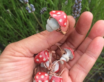 Amanita Copper Wire wrapped rings