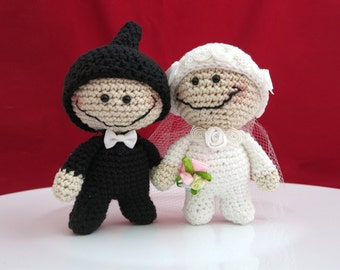 Bride and Groom Dolls, Wedding Dolls, Crochet Bride and Groom, Amigurumi Bride and Groom, Wedding Gift, Anniversary Gift, Handmade Dolls