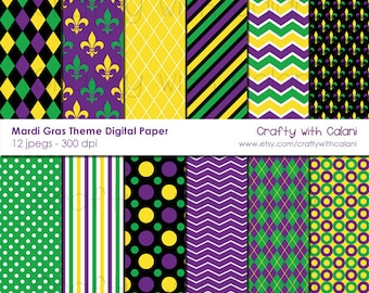 Mardi Gras Digital paper, Mardi Gras Theme Digital Paper, Fleur De Lis pattern, Mardi Gras Digital Pattern, Mardi Gras Digital Background