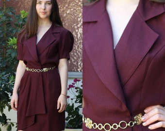 80s Does 40s Plum Dress Knee Length with Gold Belt Collared V Neck Short Sleeve Wrap Maroon Size S Small