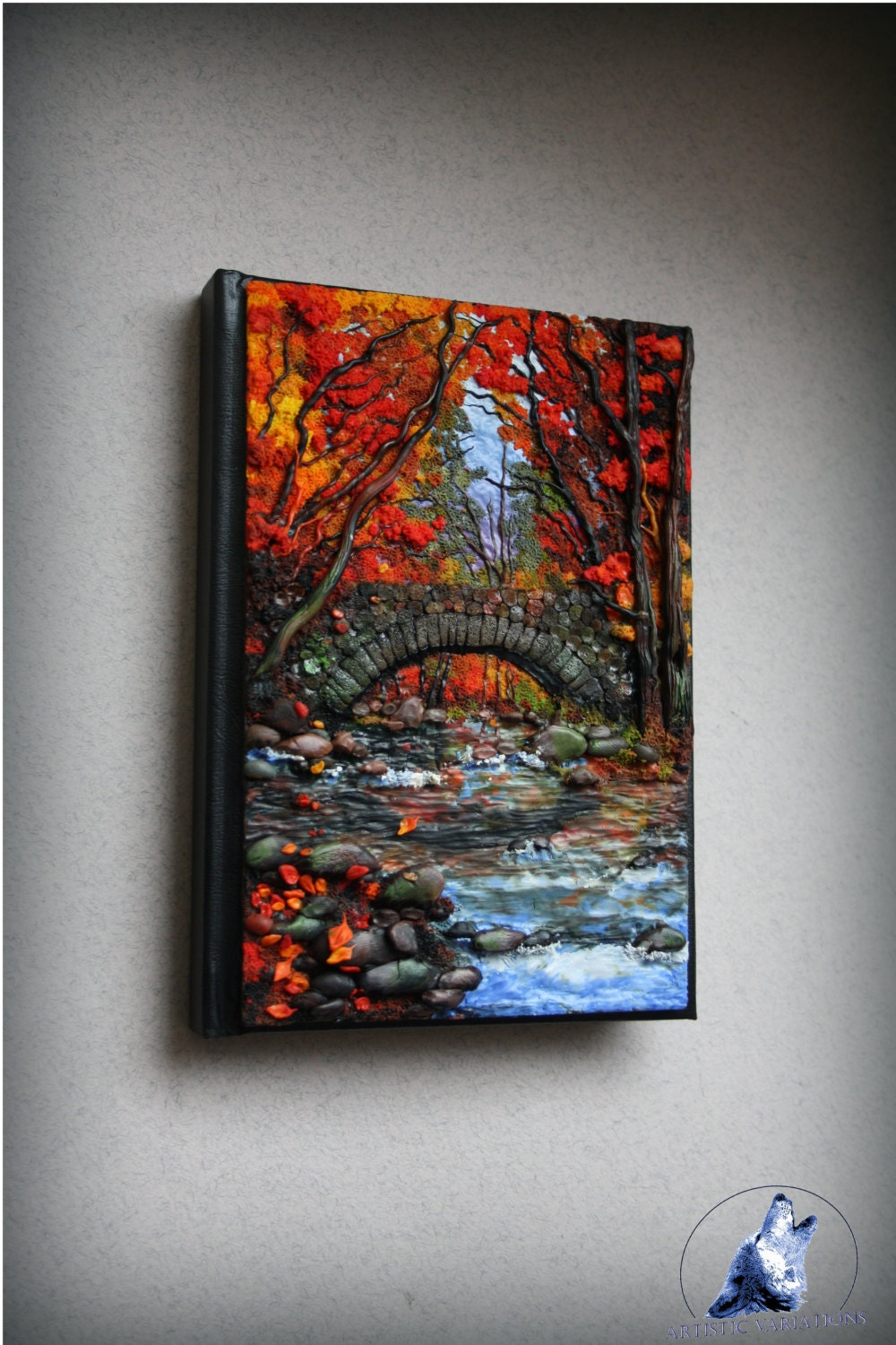 Polymer clay cover notebook journal cover autumn by the for Journal painting ideas