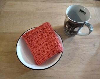 Hand Knit Dish Cloth/Wash Cloth - Tangerine - housewarming gift/ hostess gift/ wedding gift/ bridal shower gift