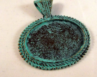 Verdigris Patina Metal Pendant Base Findings with 38x28 mm Oval Pad Cameo Setting