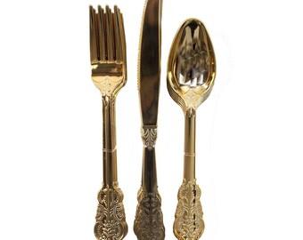 18 piece plastic cutlery - Golden