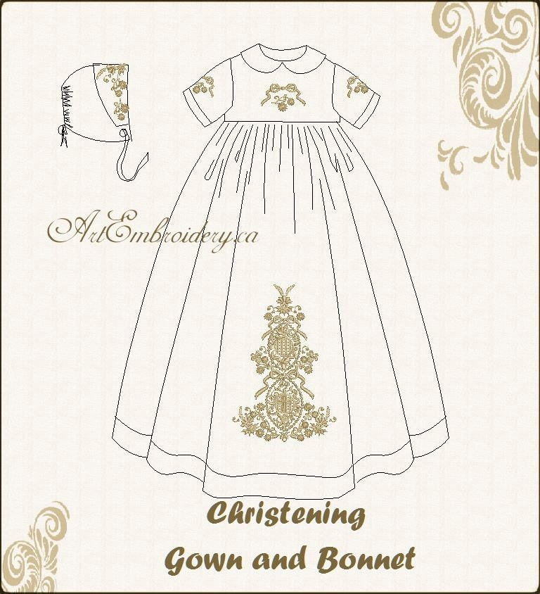 Vintage Christening Gown And Bonnet Designs Set Machine