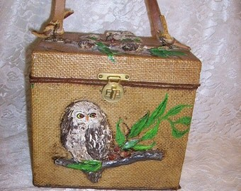 Cutest Vintage 70's Owls Box Purse