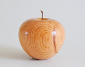 Yew wooden apple, handturned, handmade