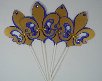 Fleur de Lis centerpieces, Royal Blue andgold, Royal Fleur de lis, Paris Fleur de Lis