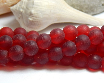 8mm Red Sea Glass Beads, Seaglass Beads, Red Round Beads, Red Beads, 8mm Red Beads, Red Sea Glass Beads, Red Matte Beads,  D-E33
