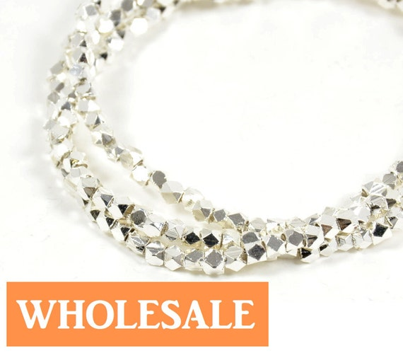 WHOLESALE 2.5mm Faceted spacer, large hole metal spacer bead, shiny silver spacer - 190+ PCS per strand