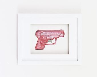 Matted 11x14 watercolor pink water gun print