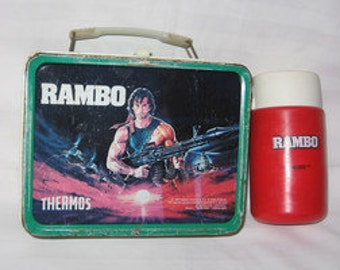 vintage 1985 thermos king-seeley rambo metal lunchbox and thermos