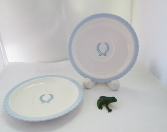 2 Steubenville Monticello Saucers for Herman Kupper Blue on White China saucer blue white plate Monticello china small plate china saucer