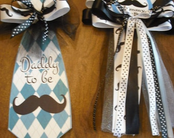It's A Boy Mustache baby shower mommy corsage and daddy to be Tie
