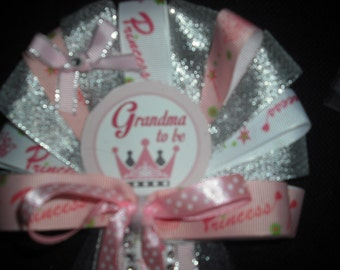 Grandma To Be Pink princess baby shower corsage