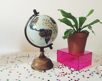 Anthropology Inspired Hand painted Globe.