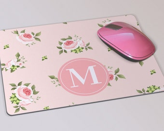 Fabric Mousepad, Mousemat, 5mm Black Rubber Base, 19 x 23 cm - Pink Rose Floral Patterned Monogrammed Mousepad Mousemat