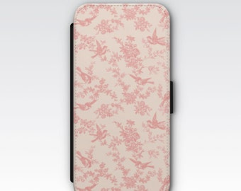 Wallet Case for iPhone 8 Plus, iPhone 8, iPhone 7 Plus, iPhone 7, iPhone 6, iPhone 6s, iPhone 5/5s -  Vintage Pink French Floral