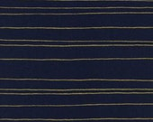 Fat Quarter Fruit Dots Gold Stripe in Navy Metallic by Melody Miller for Cotton and Steel