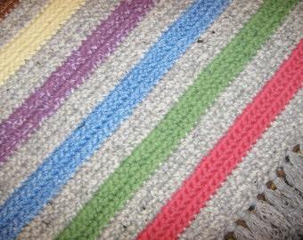 Rectangular Crocheted Rug, Red Blue Beige Long Rug, Bedroom Rug, Kitchen Rug, Livingroom Rug, christmas gift, friend gift, 3.0 // R31