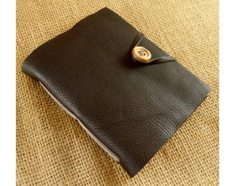 Dark Brown Leather Blank Book Journal with Wooden Button Closure
