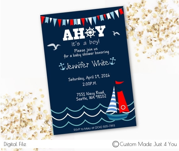 nautical themed brithday inviation