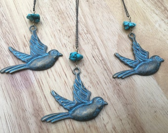 """SALE**Large """"Free Bird"""" Charm with Turquoise Healing Stone//Aged Patina Bronze"""