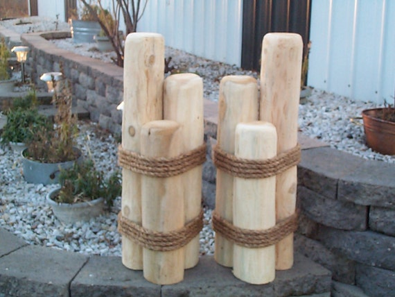 2 wood pilings lawn or pier dock ornaments by creativeyardart1 for Wooden garden ornaments and accessories