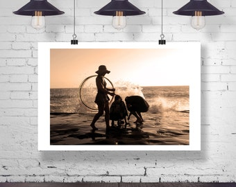 Photograph - Girl with a Hula Hoop at the Ocean Beach silhouette Pier Home Decor Fine Art Photography Print