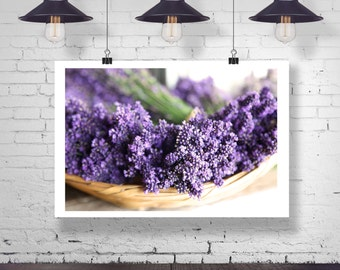 Photograph - A bowl of dried Lavender Flowers Branches Decor Fine Art Photography Print Wall Art Home Decor