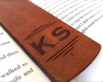 Personalized Initials Leather Bookmark - Custom Letters - Handtooled Leather - Birthday Gift - Anniversary - Christmas Custom Leather Gift