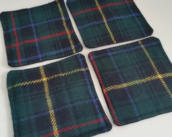 Set of 4 tartan quilted coasters.