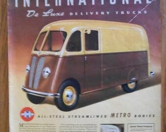 A30 Vintage 1941 International Truck Metro van Retro 1940s advertising Life magazine ad mechanic gift gas station decor car trucker gift
