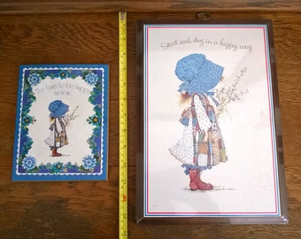Holly Hobbie Set of 2 Plaques Pictures from the 1970s, Like-New
