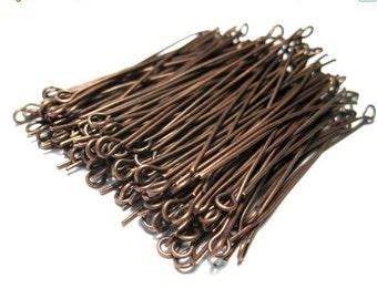 20% OFF SALE- 100pcs Antique Copper  Eye pins 2inches 21ga (No.593)