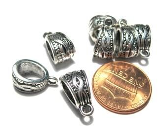 10pcs Antique Silver Bail Beads 14x7mm
