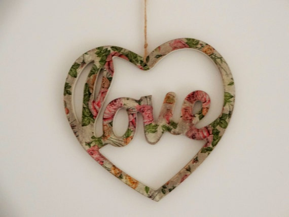 Hanging Heart Wall Decor : Home decor spring wall hanging heart decoupage