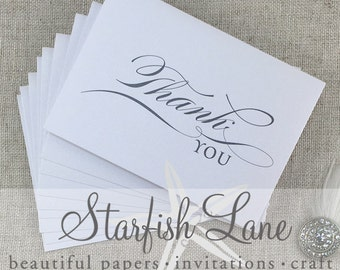 Thank You Cards Script Pack/ 10 cards 105mm x 148mm (A5 when folded & 10 Envelopes)