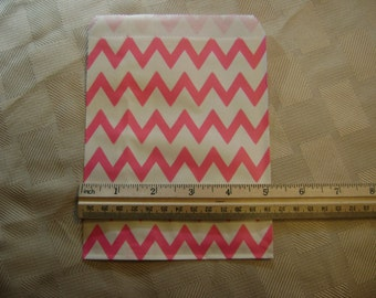 25 Hot Pink and White Chevron Candy Bag for Birthday Party, Wedding Shower, Baby Shower, Paper Favor Bag,  Cookie Treat Wrap