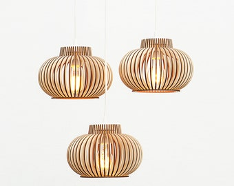 Already ASSEMBLED set of 3 lamps / set of three lamps / set of hanging lamps / set of 3 hanging lamps / wooden lamps 'Versalis Trio'