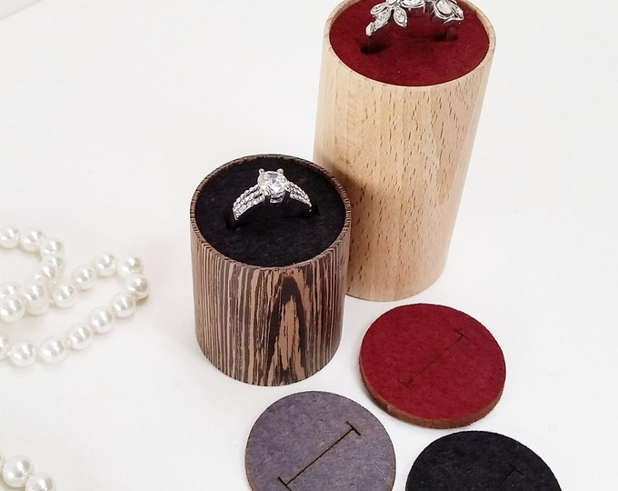 Duo handmade ringrizers with removable felt inlay handy on nighttable for hem and her or craftshow or shopwindow