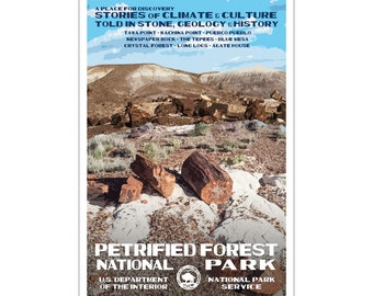 """Petrified Forest National Park WPA style poster. 13"""" x 19"""" Original artwork, signed by the artist. Free Shipping !"""
