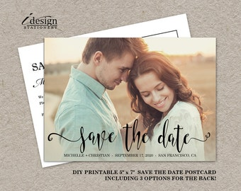 Photo Save The Date Card | Printable Wedding Save The Dates With Picture And Handwriting Font | Double Sided Save The Date Postcards
