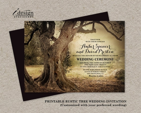 Outdoor Country Wedding Shower Ideas: Rustic Woodland Tree Wedding Invitation Printable Backyard