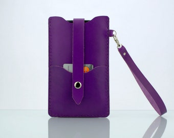 """Leather iPhone 6s Wallet Wristlet iPhone 6 Wallet, iPhone 6s Pouch Wrist Strap iPhone 6s Wristlet Purple Leather Purse for iPhone 6s (4.7"""")"""