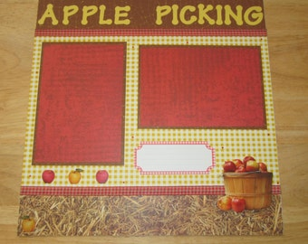 Apple Picking Scrapbook Page - Apple Picking Scrapbook Layout - 12 x 12 Scrapbook - Apple Orchard - Fall Days - Harvest- Autumn Memories