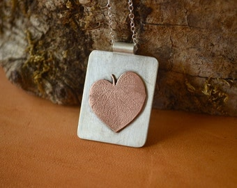 Sterling silver and copper pendant. Hand made. One of a kind.