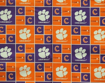 Clemson Tigers Football Checkered Sheeting Fabric Cotton 4 Oz 44-45""