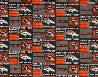 Denver Broncos Football Checkered  Sheeting Fabric Cotton 5 Oz 58-60""